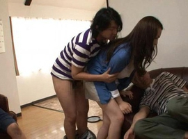 Japanese AV Model has big jugs caught on cam next to sleeping man