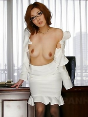 Japanese office girl Yuna Hirose