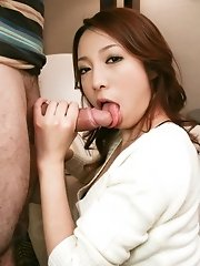 AV babe Kanako Tsuchiyo gracefully swallows a long heavy dick
