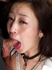 Maria Ono is tied up and begs for dick while her dom friend Natsuki shoves her face into cock.